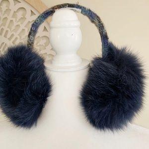 Lola Tweed Fox Fur Earmuffs Blue OS